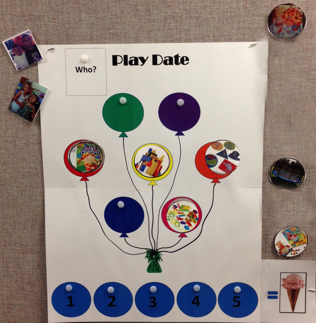 poster of play date visual with balloons in the middle. In each balloon is a picture of a play date activity such as blocks. The pictures are velcroed in each balloon. Along the bottom are circles numbered 1 through 5.