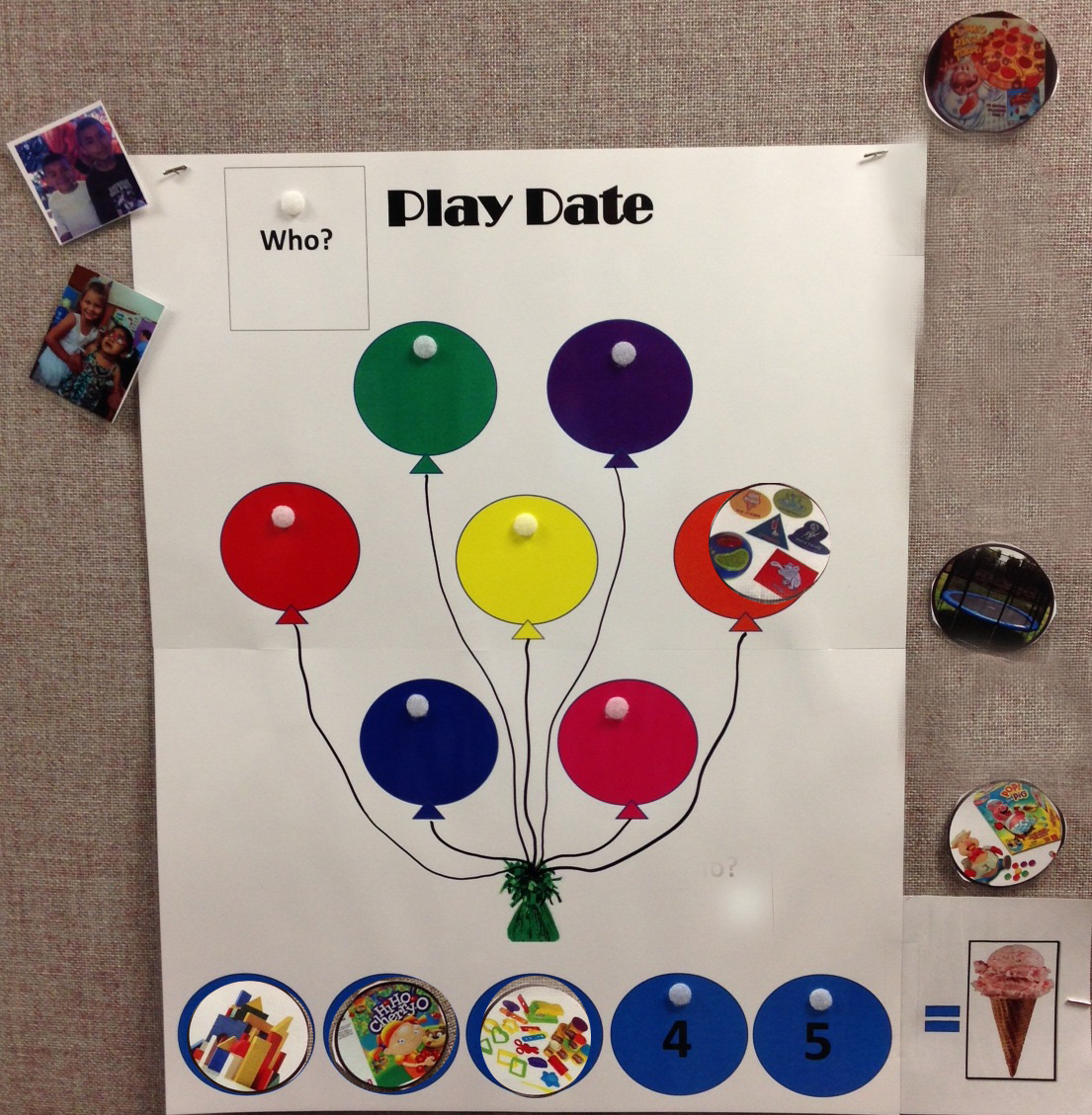 Playdate poster with the balloons in the middle.