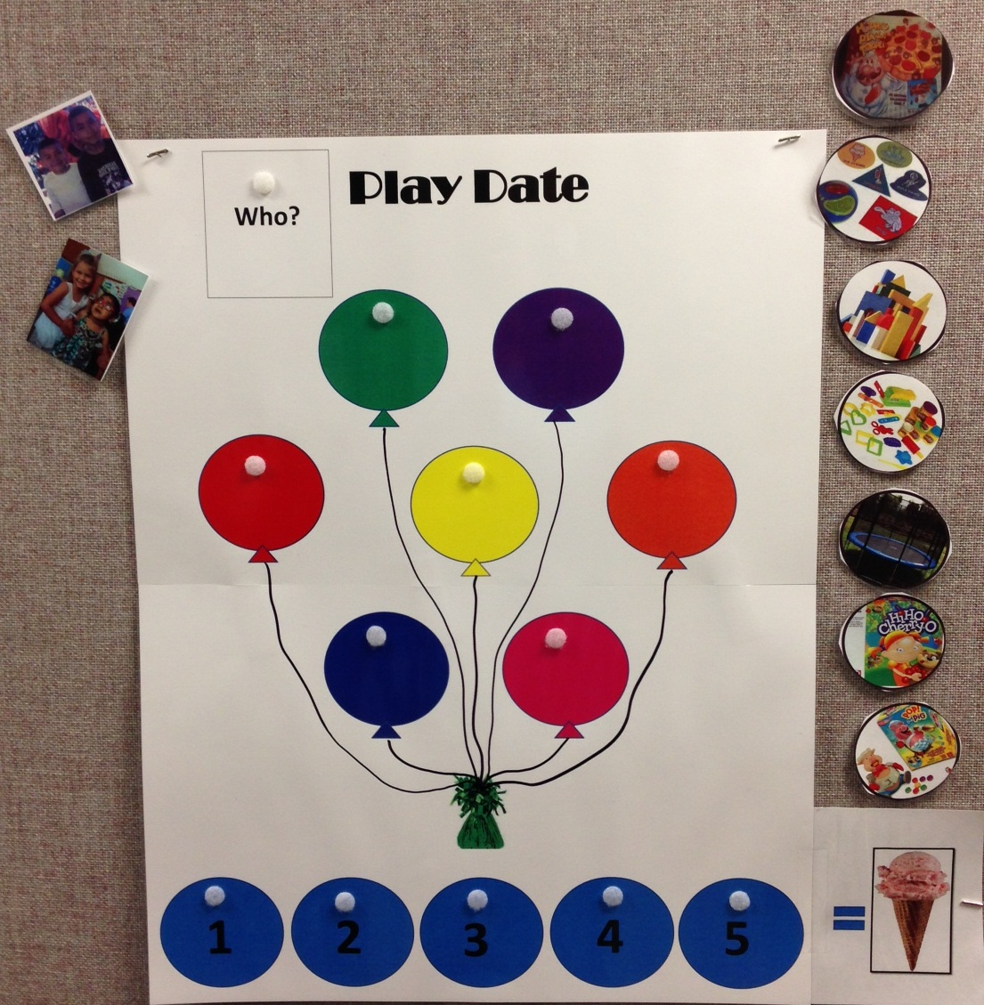 Play Date poster with balloons to hold pictures of activities that children on a play date can choose to do. Along the bottom are circles to place the activities in the order the children choose. On the left are pictures of the children who will be playing.